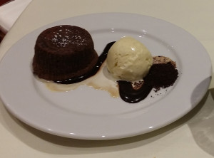 6. warm molten chocolate cake-vanilla ice cream